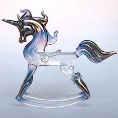 Rocking Unicorn Figurine Hand Blown Glass Gold by ProchaskaGallery,