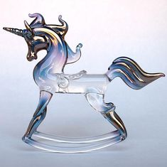 Rocking Unicorn Figurine Hand Blown Glass Gold Crystal