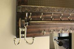 Dark Cherry/Ebony Stained Wall Mounted Jewelry by TheKnottyShelf