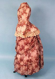 Printed Voile Bustle Dress, 1870s  I have some fabric I want to use for this style, not voile, I have trouble finding voile.
