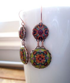 Handmade earrings Mexican Jewelry Statement by ShrunkenCatHeads