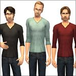 Mod The Sims - 3 Body-Hugging V-Neck Sweaters + Bonus! Jeans
