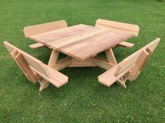 Build A Picnic Table, Wooden Picnic Tables, Bbq Table, Octagon Picnic Table Plans, Picnic Table With Umbrella, Square Patio Table, Square Tables, Patio Tables, Build A Dog House