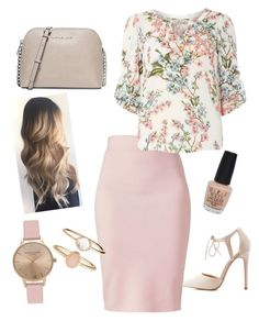 """""""Tan and champagne pink"""" by alexajh on Polyvore featuring Winser London, Billie & Blossom, Charlotte Russe, Michael Kors, Accessorize, Topshop and OPI"""