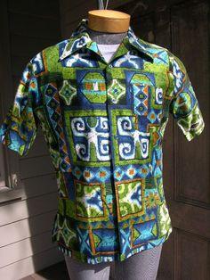 Vintage 1960's-70's Men's Hawaiian shirt by Janzten. Batik inspired print.
