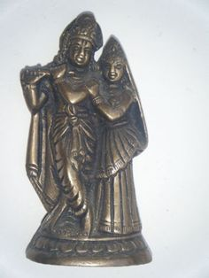 Antique Indian Brass Statue Krishna Radha Rare Collectible Artifact Figure #872