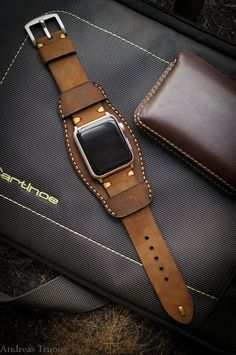 Handmade Leather Cuff Band for Apple Watch by BlackForestAtelier