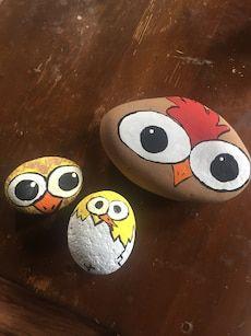 Hand painted chicken rocks
