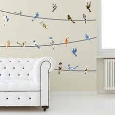 Wall Decal - China Birds on a Wire - WallsNeedLove Wall Decals, Adhesive Wall Stripes, Removable Wallpaper & Vinyl Wall Art
