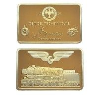 Wish | 24k Gold Bar Souvenir Coin German Dem Deutschen Volke Gold Plated Bullion Bar/Coins Collection Gifts (Size: 44mm by 28mm by 3mm, Color: Gold)