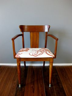 High Tide midcentury modern stained wood chair by RubbishRehab, $200.00