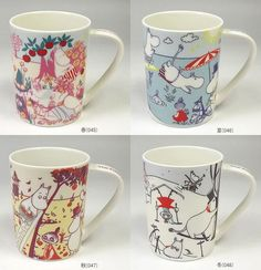 New Moomin Valley Four seasons Mug Cup Yamaka 4 set Made in Japan MoominValley Moomin Mugs, Moomin Valley, Tove Jansson, Mug Cup, Four Seasons, Tea Party, Animation, Japan, Creative