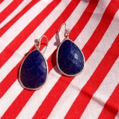 Like deep twilight blue, these drops are awe-inspiring. #Lapis, #Cubic #Zirconia, #Sterling #Silver. #Silpada #Jewelry #FourthofJuly