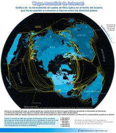 Mapa mundial de las redes que permiten la conexión a internet