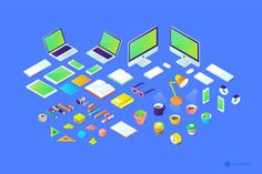An awesome and modern set of isometric illustrations that would be perfect for the website header of a trendy startup or a hip tech company. Website Header, Graphic Design Typography, Motion Graphics, Art Direction, Illustrations, Building, Free, Illustration, Buildings