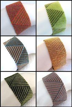 Peyote Pattern Log Cabin Braid Cuff / Bracelet A by SandFibers