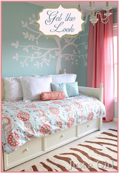 Girls bedroom - pink, robin's egg blue, and mixed prints. This is soooo Emerson. Love it to transition to her big girl room. We already have the wall color and day bed :-)