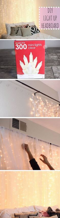 Light Up Headboard | 18 DIY Tumblr Dorm Room Ideas for Girls that you will want to recreate! #DIYHomeDecorTumblr