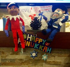 Admiring their new portrait drawn by two of our adorable patients. Thank you for the lovely handmade card!   #menschonabench #elfonashelf