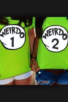 Weirdo 1! Weirdo 2! Cute BFF shirts!