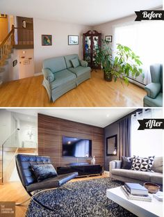 living room makeovers - before and after: dark stained beams and