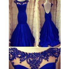 Roayl Blue Cap Sleeve Low Back Mermaid Long Prom Dress, WG570