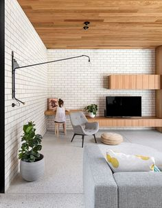 You can either go for an exposed brick wall, or perhaps a faux brick wallpaper, and the results will still be amazing. A brick wall may very well be the. Wood Plank Ceiling, Timber Ceiling, Timber Walls, Painted Brick Walls, White Brick Walls, Exposed Brick Walls, White Bricks, Brick And Wood, Brick Wall Bedroom