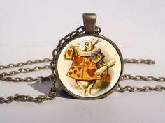 The Queens White Rabbit Alice's Adventures In Wonderland Glass Art Picture Pendant Necklace via Etsy
