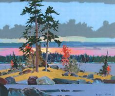 """Picnic Point to Philip Glass Lake of the Woods, 30"""" x 34"""", acrylic on canvas, by Robert Genn."""