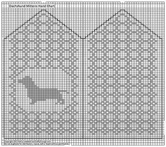 Just Crafty Enough – Dachshund, Beagle, Yorkie, Lab and Pug Mittens Crochet Cross, Crochet Chart, Filet Crochet, Knitting Charts, Knitting Socks, Baby Knitting, Knitted Mittens Pattern, Crochet Mittens, Yorkie