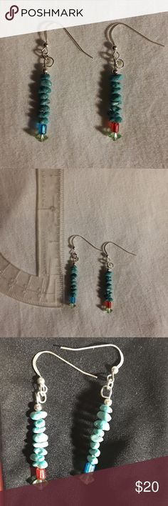 """Sleeping Beauty Earrings designed by 10 yr old Designed by my 10 yr old, 1.5"""" Long.  (I helped her finish them by doing the ear wire for her). Sleeping Beauty turquoise beads.  She purposely made the earrings have different colored beads.  She found 2 beads that didn't have a match.   Sometimes a different color bead is purposely added to show that it is hand made.  Darby picked classic southwestern colors, so how could I deny her artistic view?   ONE OF A KIND.   .925 sterling earwires…"""