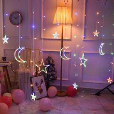 Fairy Light Curtain, Curtain Lights, Ceiling Lights, Stars And Moon, Decorating With Christmas Lights, Christmas Decorations, Holiday Lights, Hanging Lights, Fairy Lights