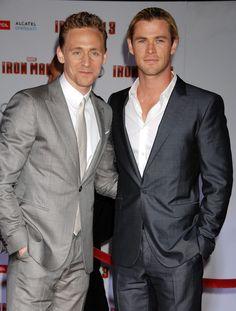 Tom Hiddleston and Chris Hemsworth attend 'Iron Man 3' World Premiere held at the El Capitan Theatre on April 24, 2013 [HQ]