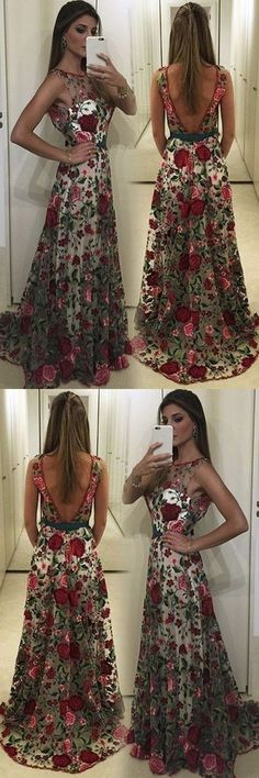 Prom Dresses Ball Gown, Pretty tulle see-through pattern round neck open back long prom dress, from the ever-popular high-low prom dresses, to fun and flirty short prom dresses and elegant long prom gowns. Open Back Prom Dresses, Simple Prom Dress, Prom Dresses 2018, Long Prom Gowns, Plus Size Prom Dresses, Cheap Prom Dresses, Nice Dresses, Evening Dresses, Dress Prom