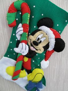 Mickey Mouse Completed Handmade Felt Christmas Stocking from Janlynn Kit