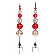 56 in. Battery Operated Plastic Ball Ornament Topiary Stake with 30 Clear LED Lights and Timer Feature (Set of 2)