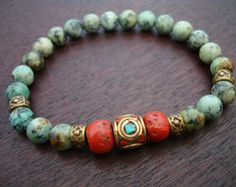 tibetan coral mala bracelet, made from african turquoise, tibetan sherpa coral, and a handmade and inlaid tibetan coral and turquoise guru bead. Bracelets For Men, Jewelry Bracelets, Jewelery, Bracelet Men, Beaded Jewelry, Handmade Jewelry, Diy Jewellery, Artisan Jewelry, Tibetan Jewelry