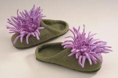HWD Felt LLP - Chrysanthemum Felt Slippers, $58.00 (http://www.hwdfelt.com/products/Chrysanthemum-Slippers-Single-Pair.html)