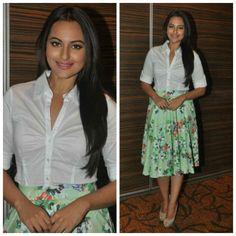 Sonakshi Sinha in a Zara creation and black Louis Vuitton pumps.
