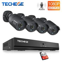 Techege 4CH 48V PoE NVR POE System Audio Record 2.0MP Onvif PoE IP Camera Waterproof Remote View XMEye Surveillance CCTV System Review 4 Channel, Surveillance System, Alarm System, Ip Camera, Hdd, Remote, Audio, Technology, Tecnologia
