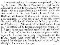 A Sad Tale of Suicide, 1800, via Madame Gilflurt. The Times 8th May 1800