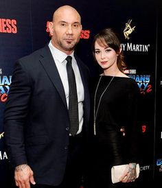 Dave Bautista (WWE Superstar Batista) and his wife Sarah Jade at the New York premiere of his movie Guardians of the Galaxy vol 2 #WWE #wwecouples