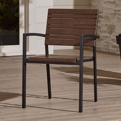 Shop Rocha All Weather Patio Chair. Aligned in alternating wide and thin slats of faux wood, Rocha's realistic grain and warm natural tones are framed in weather-resistant aluminum finished in charcoal.