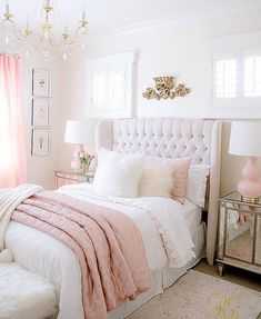 Pink and Gold Girls Bedroom Makeover Randi Garrett Design White And Gold Bedroom Home Design Ideas, Pictures, Remodel and Decor 35 Gorgeous. Dream Rooms, Dream Bedroom, Bedroom Girls, Girls Bedroom Chandelier, Girl Rooms, Summer Bedroom, Light Pink Girls Bedroom, Blue Ceiling Bedroom, Kids Bedroom Ideas For Girls Tween