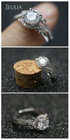 Flower Design Round Cut Created White Sapphire Engagement Ring #Jeulia