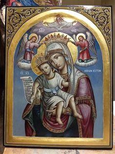 Virgin Mary,Jesus Christ,Panagia Axion Esti,Mount Athos,Greek Orthodox Icon. Jesus Christ Images, Queen Of Heaven, Mary And Jesus, My Art Studio, Hail Mary, Art Icon, Orthodox Icons, Roman Catholic, Ikon