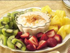 Pina Coloda Dip for fruit..Sounds yummy :)    2 (6-oz.) containers Yoplait® Original 99% Fat Free French Vanilla Yogurt  1 teaspoon rum extract or dark rum  3 tablespoons flaked coconut, toasted  2 tablespoons finely chopped pineapple  15 fresh strawberries, halved  30 (1-inch) chunks fresh pineapple  30 chunks kiwi fruit (about 5 medium)