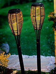 Juego de 2 Light Garden Stake Lámpara Solar LED Rattan Vela Lawn