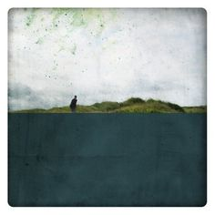Pole Marine (Landscape Photography - Fine Art Print - Country - Silhouette -  Painting - Color Block - Black and white - Dark Blue)