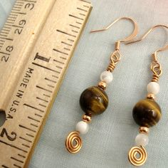 Tigers Eye Earrings with Copper and Shell Beads, Handmade Spirals | PrettyGonzo - Jewelry on ArtFire